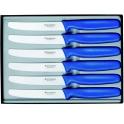 Coffret de 6 couteaux de table, manche bleu