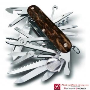Couteau suisse SWISSCHAMP en BOIS de CERF